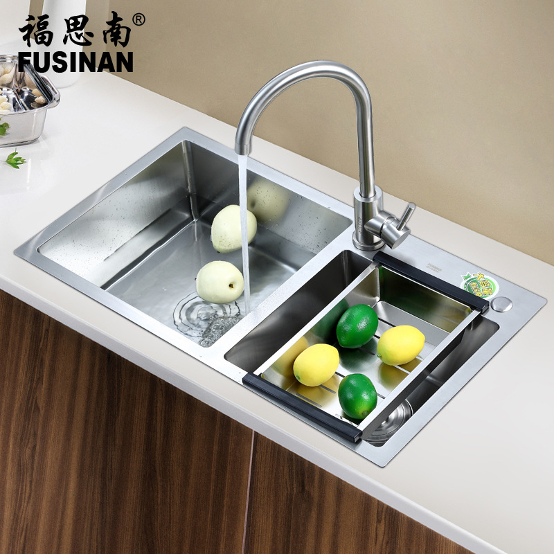 FUSINAN Kitchen manual sink double trough 304 stainless steel dishwashing basin filter belt plate di