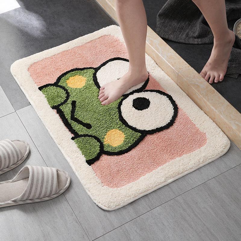 CANLAN Cartoon flocking imitation cashmere floor mat toilet bathroom water absorption household door