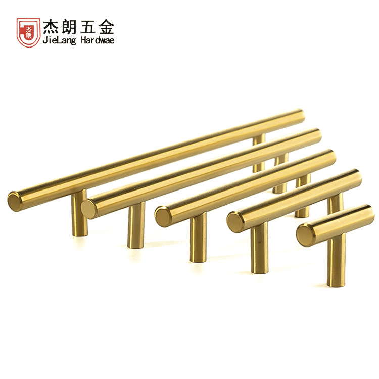 JIELANG Golden T-shaped handle closet stainless steel hollow light luxury drawer hardware cabinet do