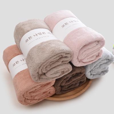JINMIAN Khăn tắm Khăn tắm lông cừu san hô dày dành cho phụ nữ người lớn mềm mại thấm hút và dễ khô ố