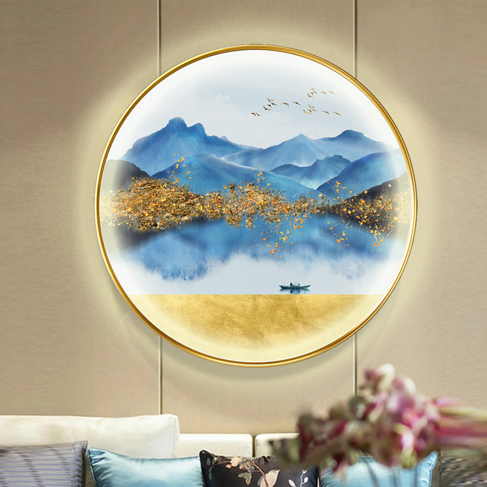 HAOLIYI Mural with LED lights, circular decorative painting, landscape painting, living room porch p