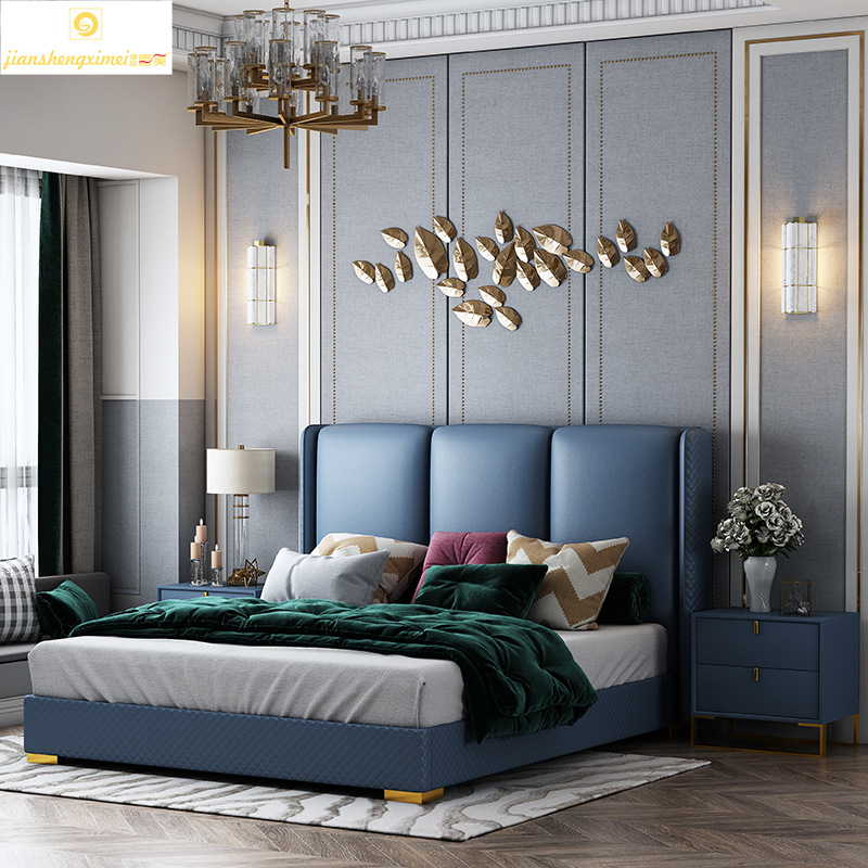 Light luxury leather double bed post modern simple 1.5m master bedroom Nordic furniture 1.8m high bo