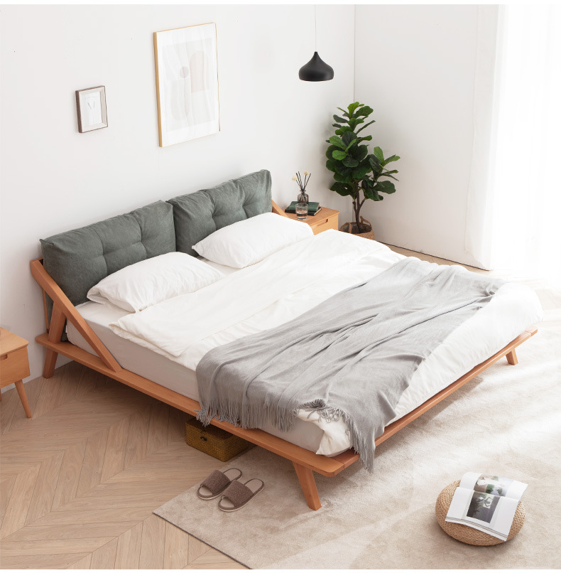 WEIHANG Nordic solid wood bed modern simple double bed 1.5m beech master bed 1.8 log Japanese tatami
