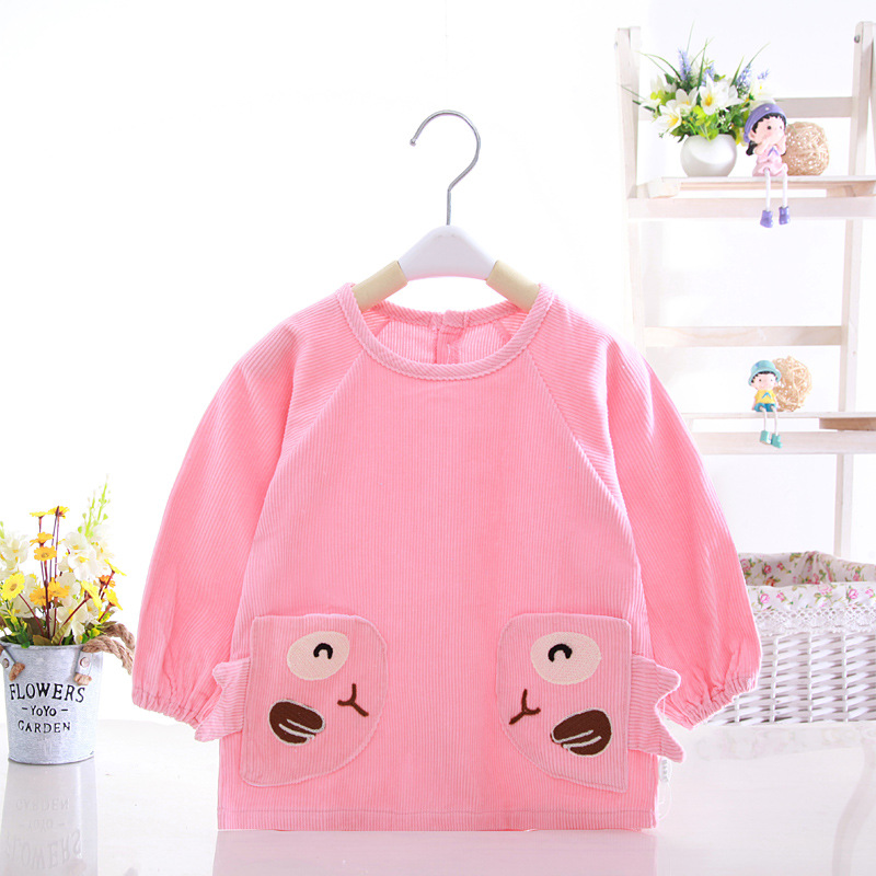 Baby coverings waterproof pure cotton coarse stripe boys and girls painting eating children reverse