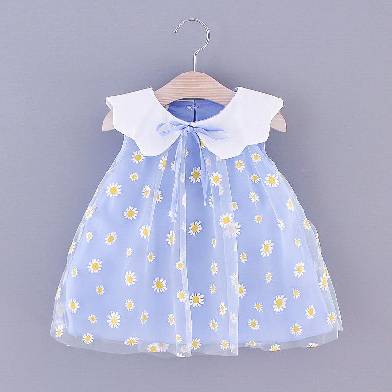 2020 summer children's dress sweet wind pure color Daisy net cute Lapel sleeveless children's skir