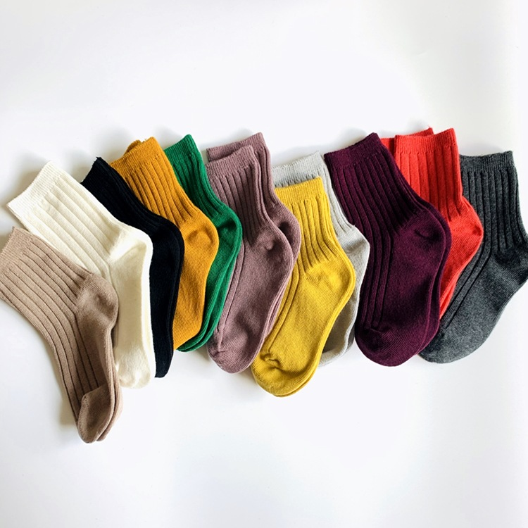 Autumn 2020 candy solid color double needle pit bar hand sewn stockings for boys and girls