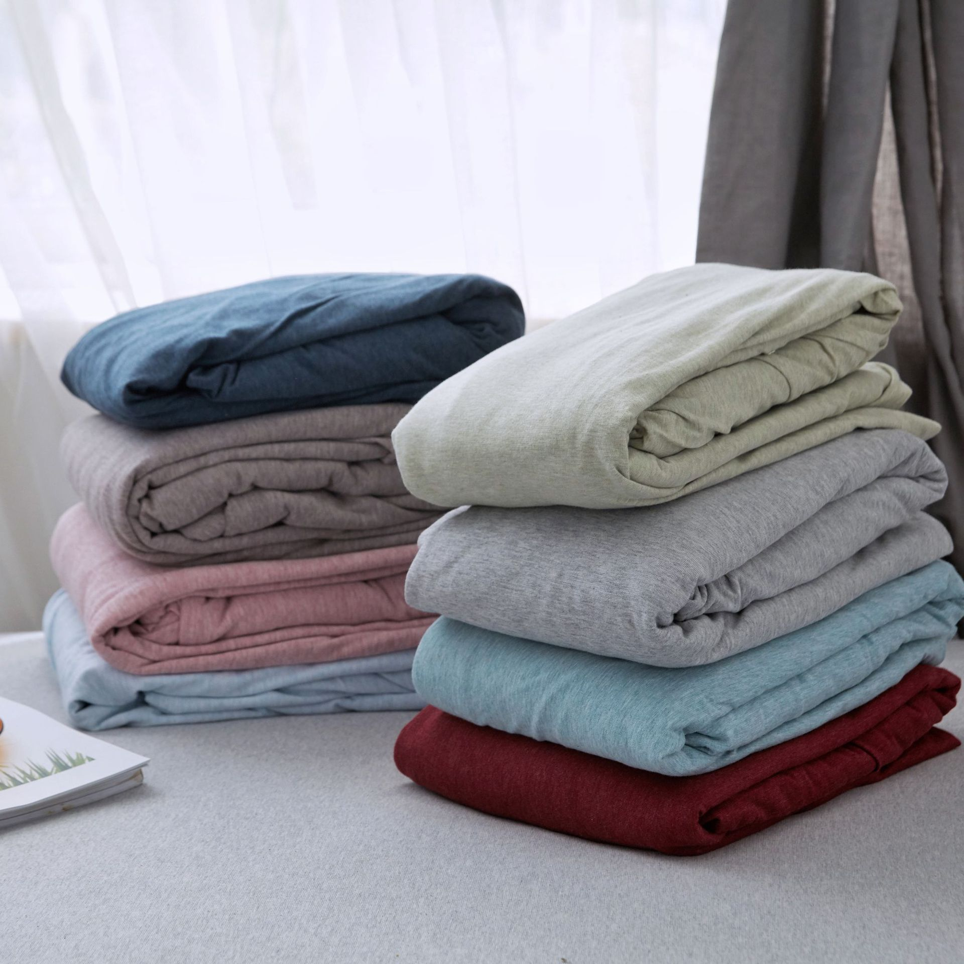 Single piece knitted Bamboo Cotton Single fitted sheet pure cotton Japanese style simple pure color