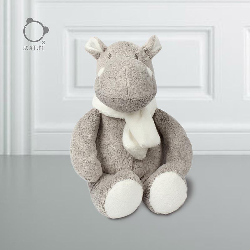 Soft life New grey Hippo doll creative scarf Doll Girl's birthday gift children's plush toys
