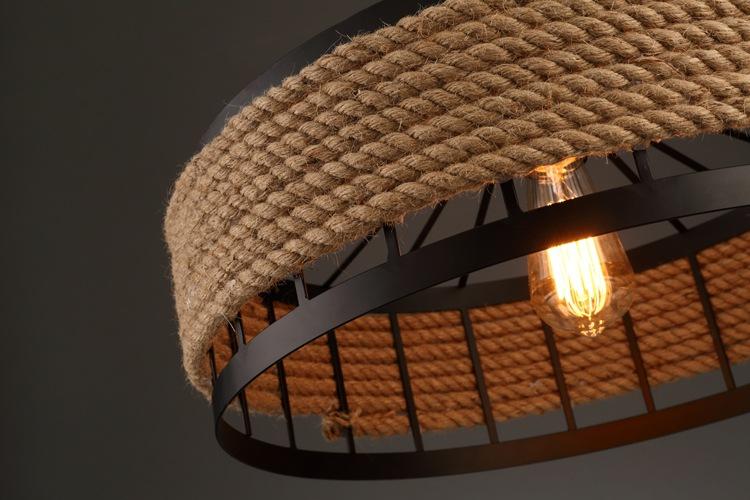 BINYANG Iron art hemp rope loft American country industrial style chandelier creative retro restaura