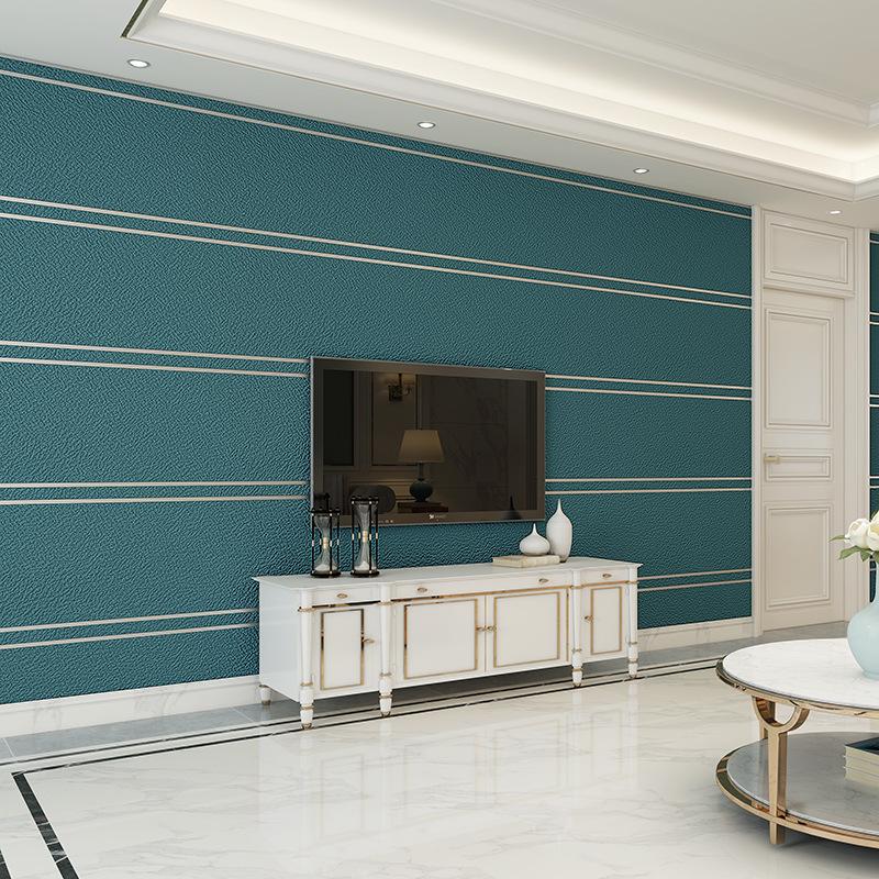 SIBADA Nordic plain wide stripe velvet wallpaper bedroom living room TV background wall non woven wa