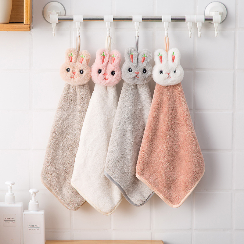 JJCC Household dust removal cute cartoon rabbit thickened towel kitchen hanging coral wool absorbent