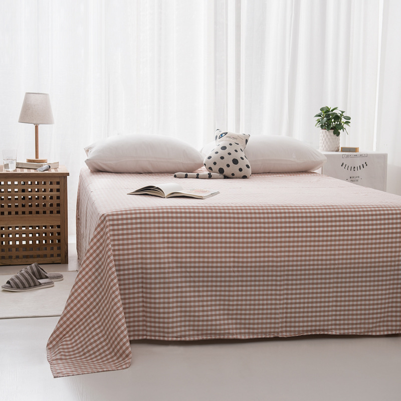 Japanese simple all cotton washed cotton lattice bed sheet pure cotton quilt single double bedspread