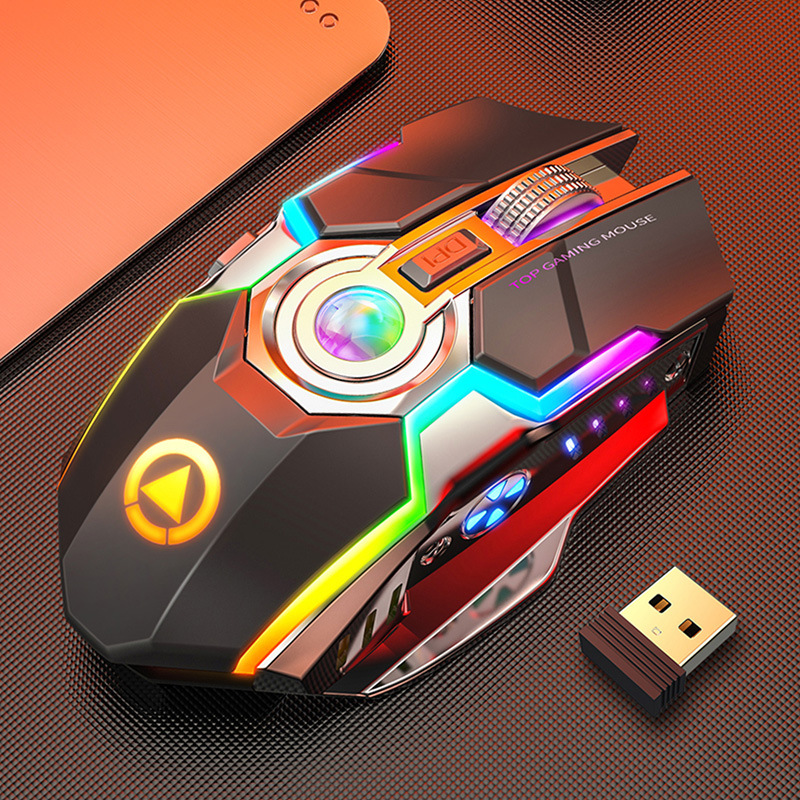 Silver carving A5 wireless mouse charging game RGB luminous mute non silent computer accessories
