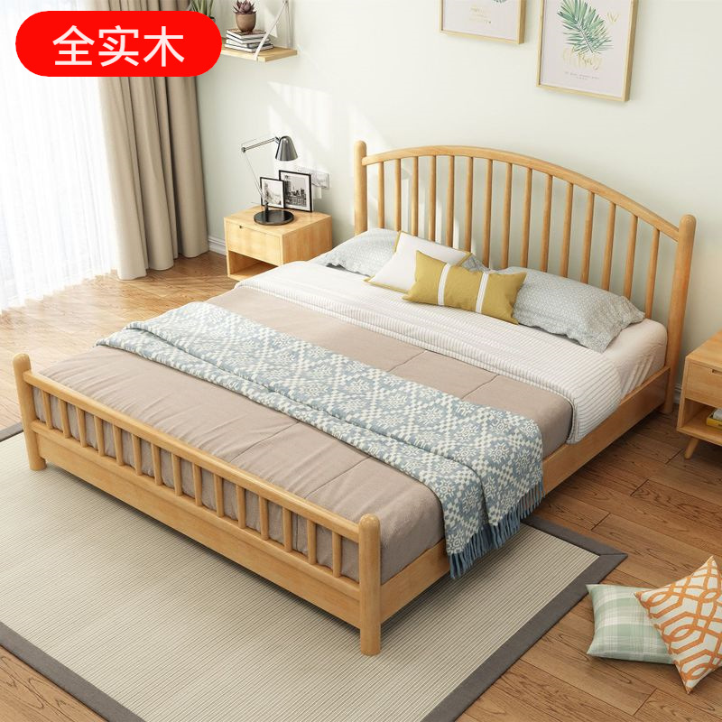 ZHUANGCHEN Solid wood bed Nordic style modern simple double bed 1.5 Japanese log Princess bedroom ap