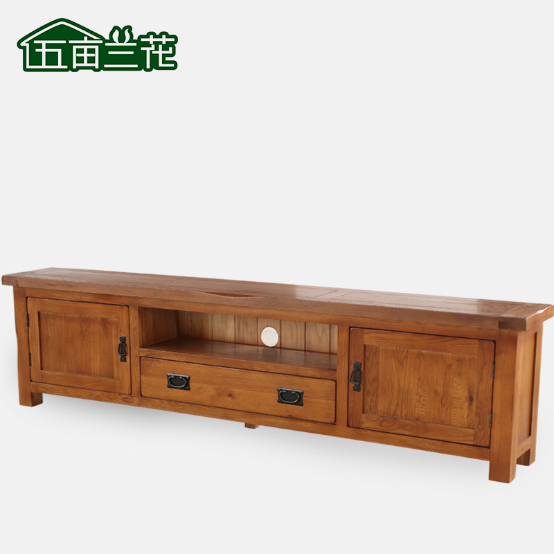 Solid wood TV cabinet Nordic modern simple TV cabinet living room small family white oak furniture