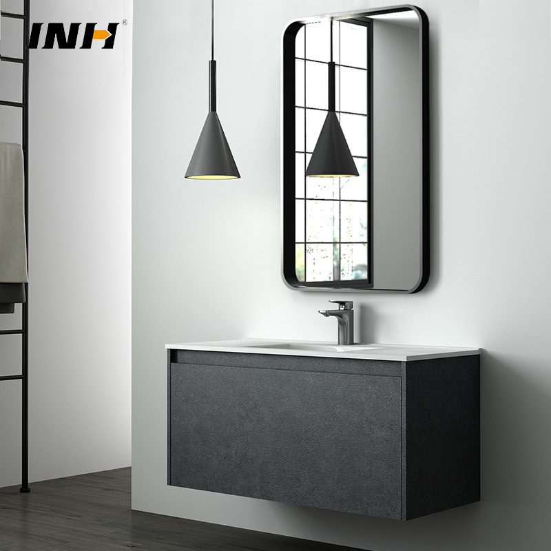 INH Germany INH Nordic modern intelligent mirror bathroom cabinet combination lacquer free solid woo