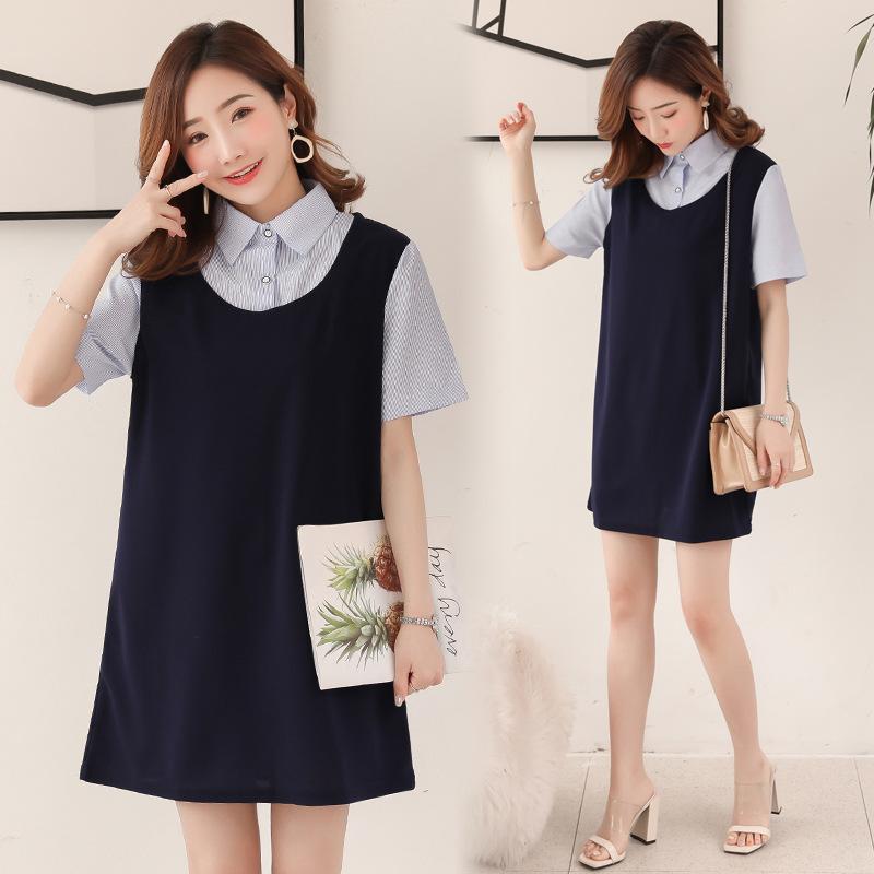 Pregnant women's spring and summer top 2020 Korean professional Lapel short sleeve skirt loose medi