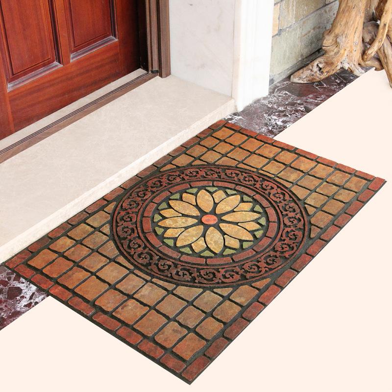European style rubber flocking floor mat for entering the door, foot mat for entering the door, plas