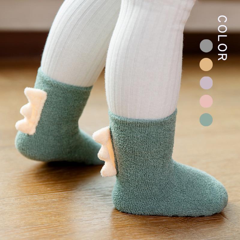 Robibabi 20 winter new stereo super thick children's sleep socks children's floor socks dinosaur c