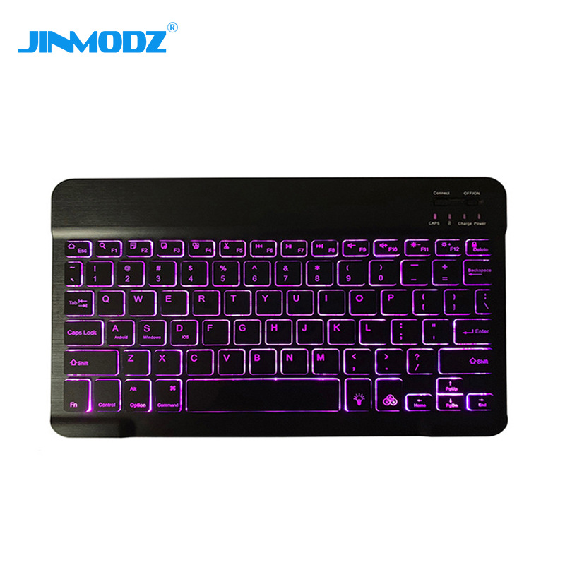Three systems of mobile phone flat panel with seven color backlight wireless Bluetooth Keyboard