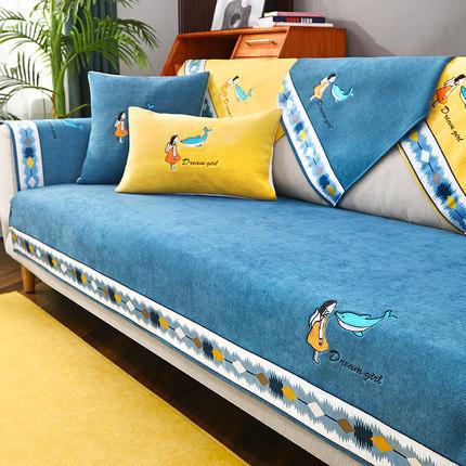 QINGLAN Light luxury chenille sofa cushion Four Seasons General antiskid high grade sofa cover Nordi