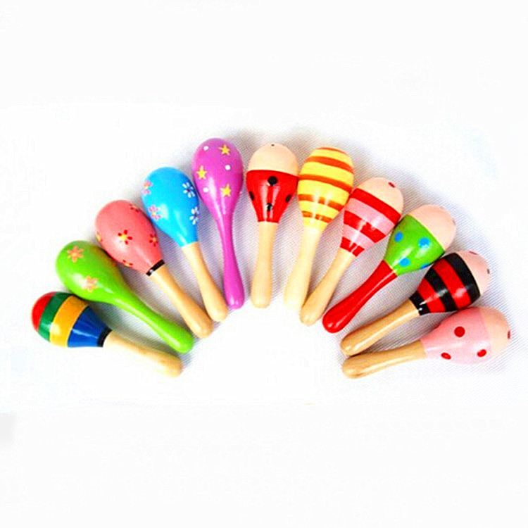 Wooden small sand hammer sand ball wooden cartoon sand hammer early childhood education toys