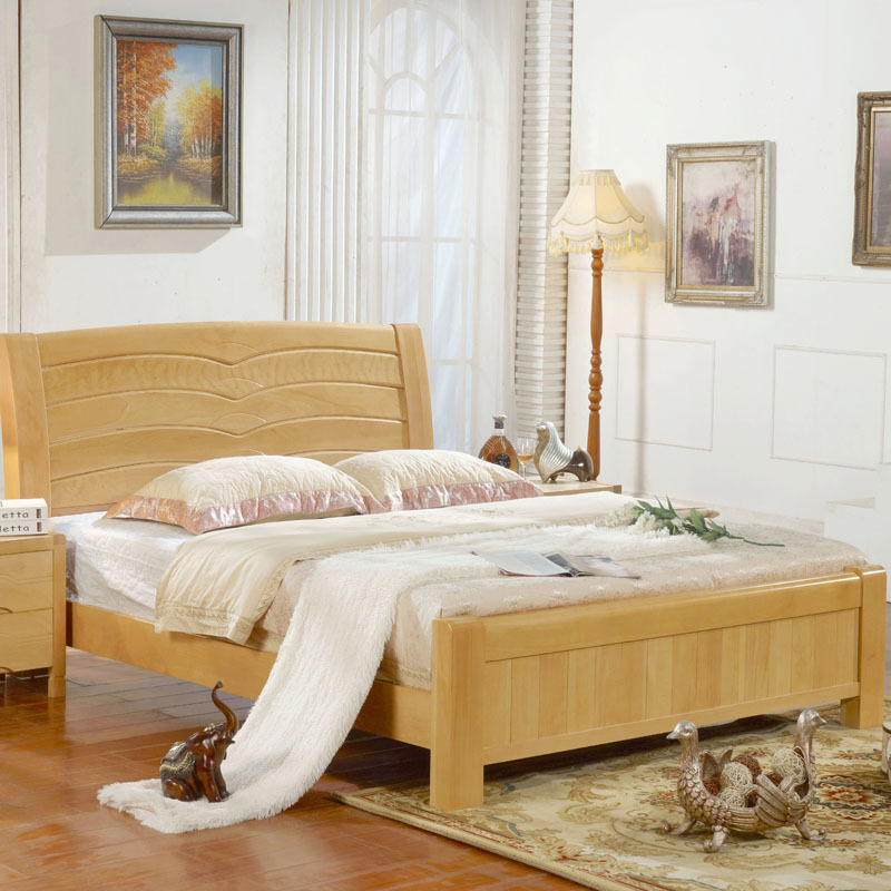 XINLINMEN Nankang furniture solid wood bed 1.8m 1.5m beech bed full solid wood moving high box bed s