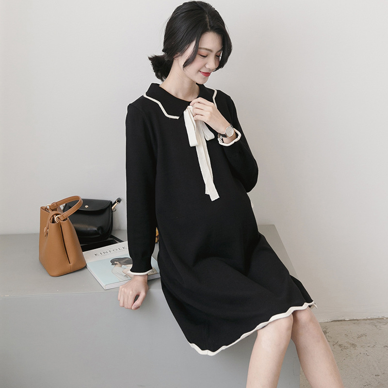 ZISHUFANG Autumn and winter 2020 new maternity dress large size knitted sweater lace up medium lengt