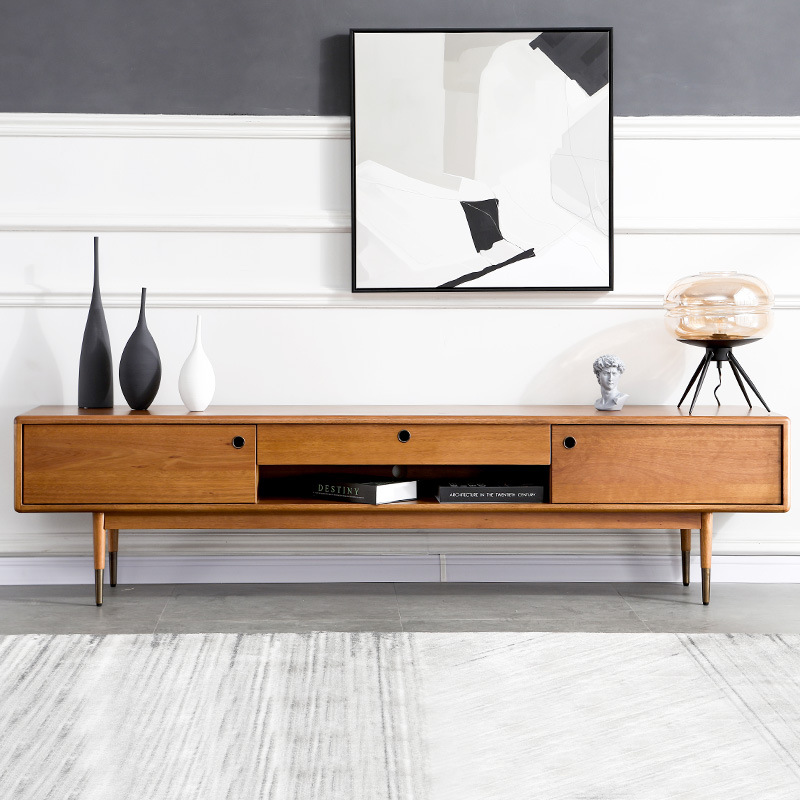 MUFAN Light luxury all solid wood TV cabinet simple modern Nordic style small family audio visual ca