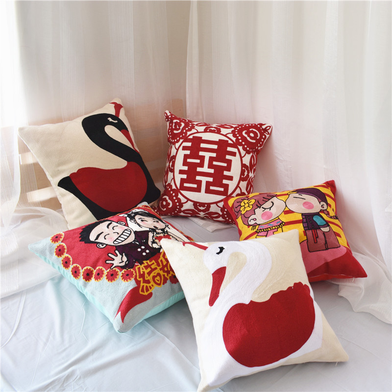 DUMEI All cotton wedding embroidered pillow cushion Chinese wedding happy word full embroidered pill