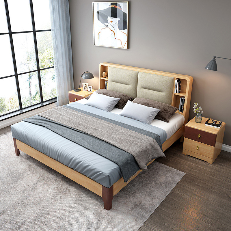 DIBALUN Solid wood bed 1.8m 1.5m wedding bed double bed bedroom furniture high box storage double so