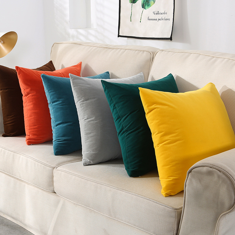 XILAI Velvet solid pillow coat Nordic cushion sofa office waist pillow bedside large back