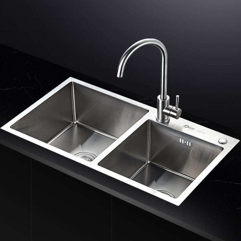 304 stainless steel kitchen sink, double sink, one thickened hand dishwasher, single dish basin set