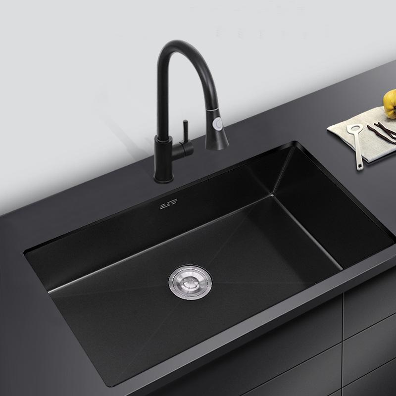 SHIGETE Nano sink single sink sink black under table basin embedded small 304 stainless steel vegeta