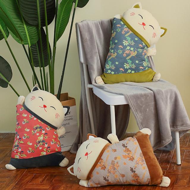 TAOXIMAO Plush doll Zhaocai cat sofa cushion new family living room pillow chair car waist pillow
