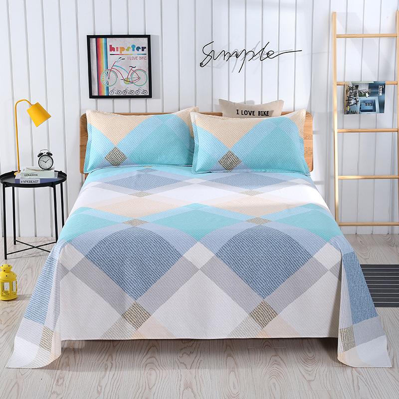 HANYUNFANG Thickened cotton printed old denim bed sheet cotton old denim three piece cartoon linen t
