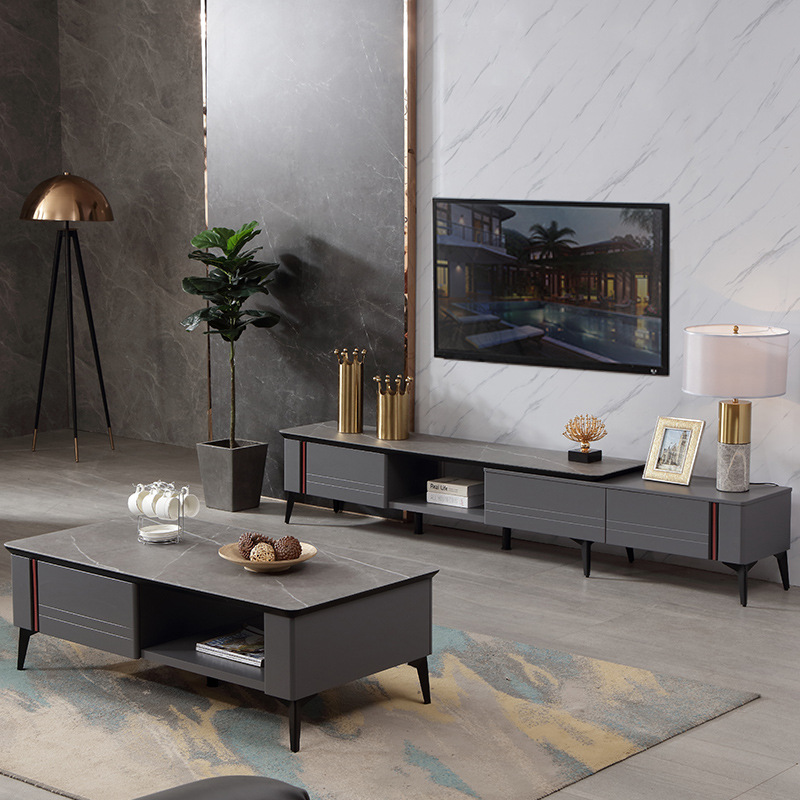 Modern simple small family living room TV cabinet tea table combination Hotel B & B living room