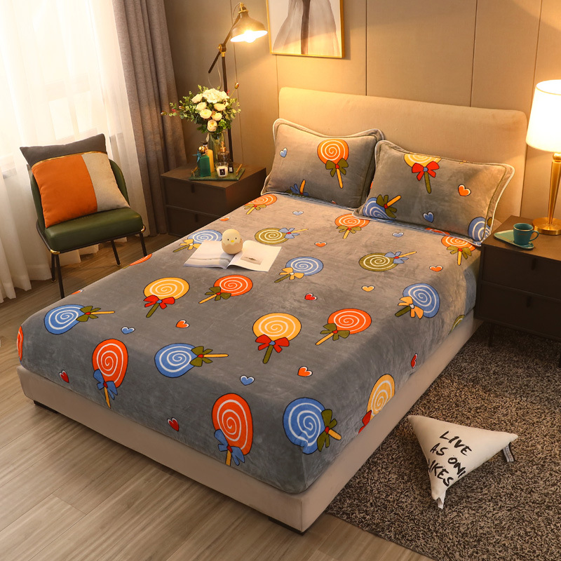 Flannel cartoon printed one piece winter thickened warm mattress cover non slip all inclusive sheet