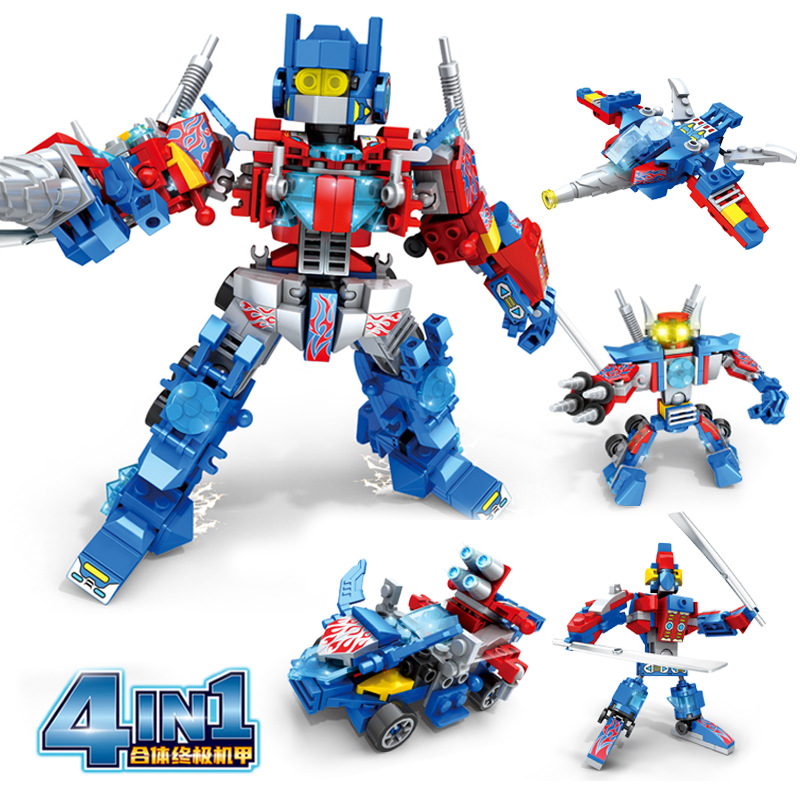 Deformable warrior 4 boxes of 1 robot building block toys