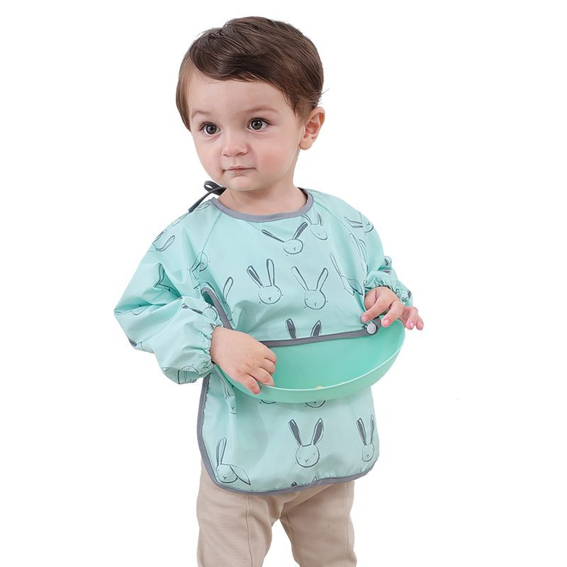 Dining children's bib set waterproof dirty smock baby's belly pocket long sleeve apron thin autumn