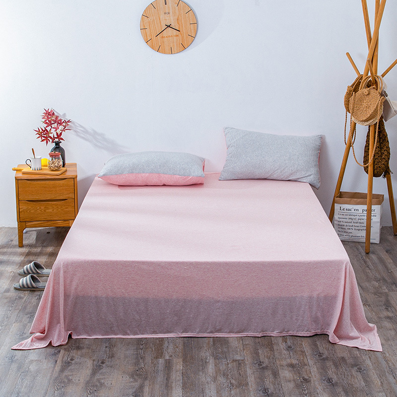QINGJIUFANG Japanese style cotton knitted fitted sheet sheet pure cotton single piece mattress prote