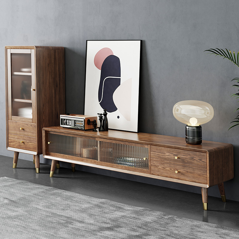 JIANJIANG Nordic ash solid wood TV cabinet tea table combination simple small family walnut living r