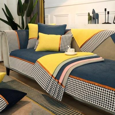 YISIGE Đệm lót SoFa Đệm sofa họa tiết houndstooth phong cách mới sang trọng cho mùa thu đông, đơn gi