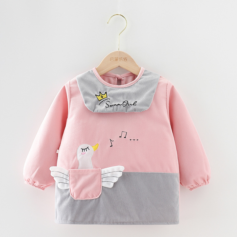 QMYY Children's smock long sleeve waterproof girl autumn and winter baby eating smock dirt proof cr