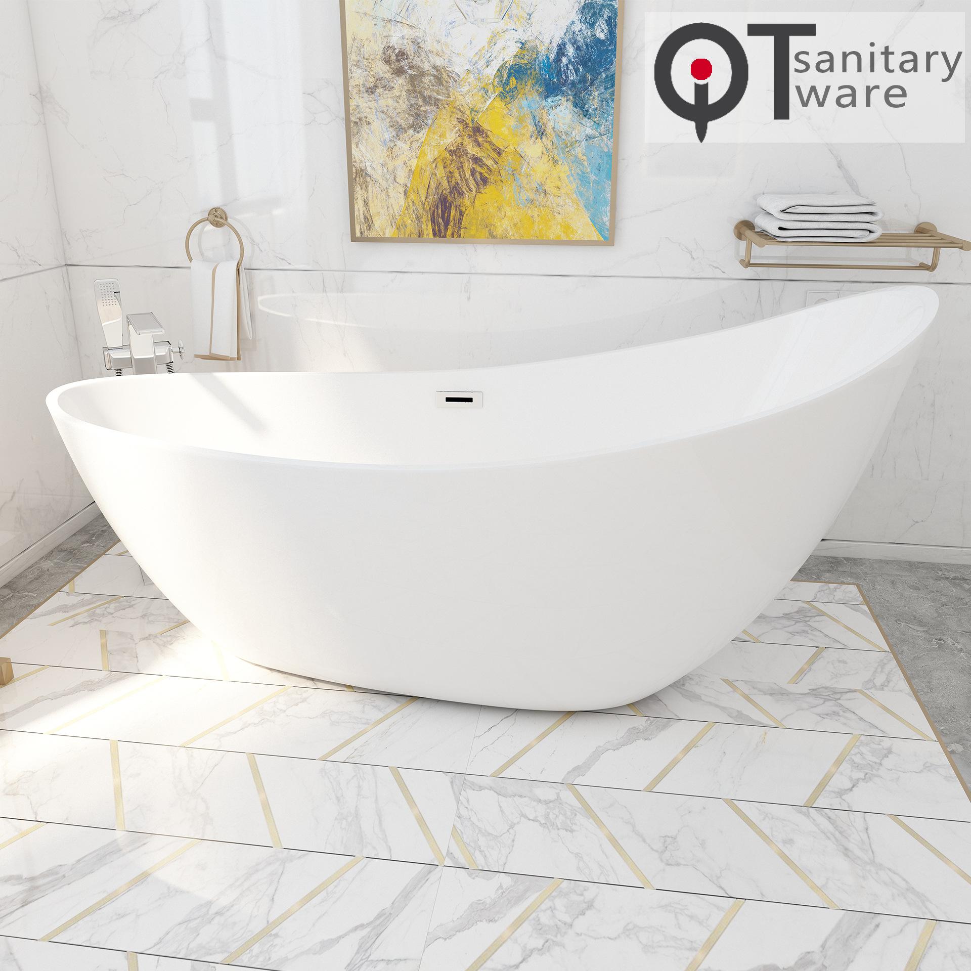 Bồn tắm acrylic độc lập 1,9m kiểu dáng nghệ thuật