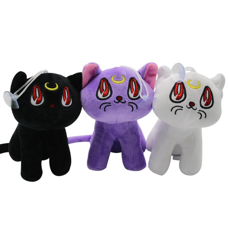 Beautiful girl warrior cartoon moon hare Artemis Luna white cat black cat purple cat plush toy doll