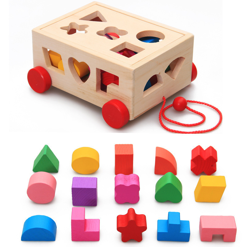 Shape matching early education toys children's puzzle wooden drag toys