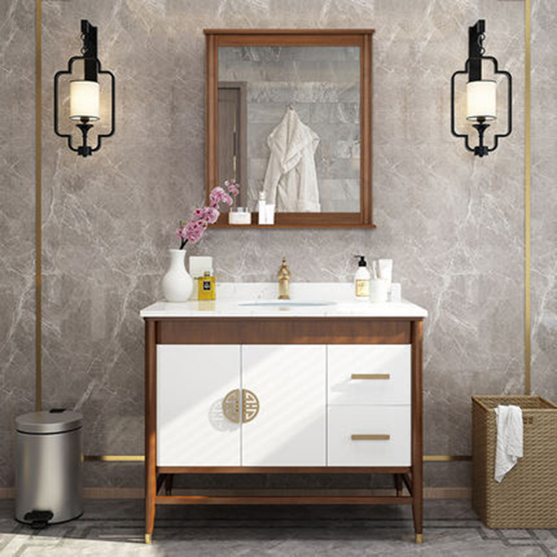 New Chinese bathroom cabinet combination solid wood floor type wash basin pool mirror cabinet toilet