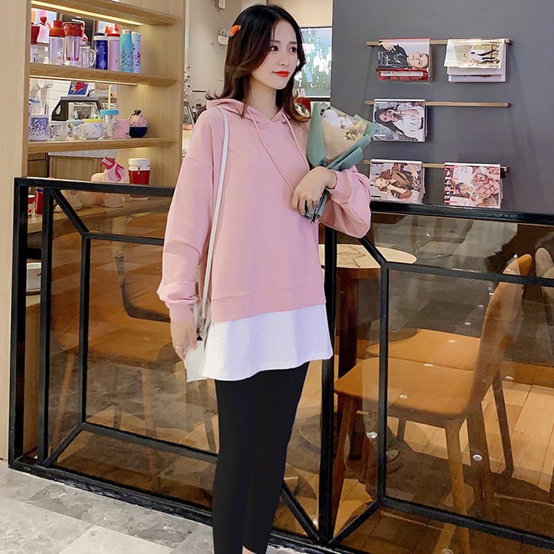 Fake two pieces Maternity Sweater autumn Korean loose hooded color matching long sleeve top women's