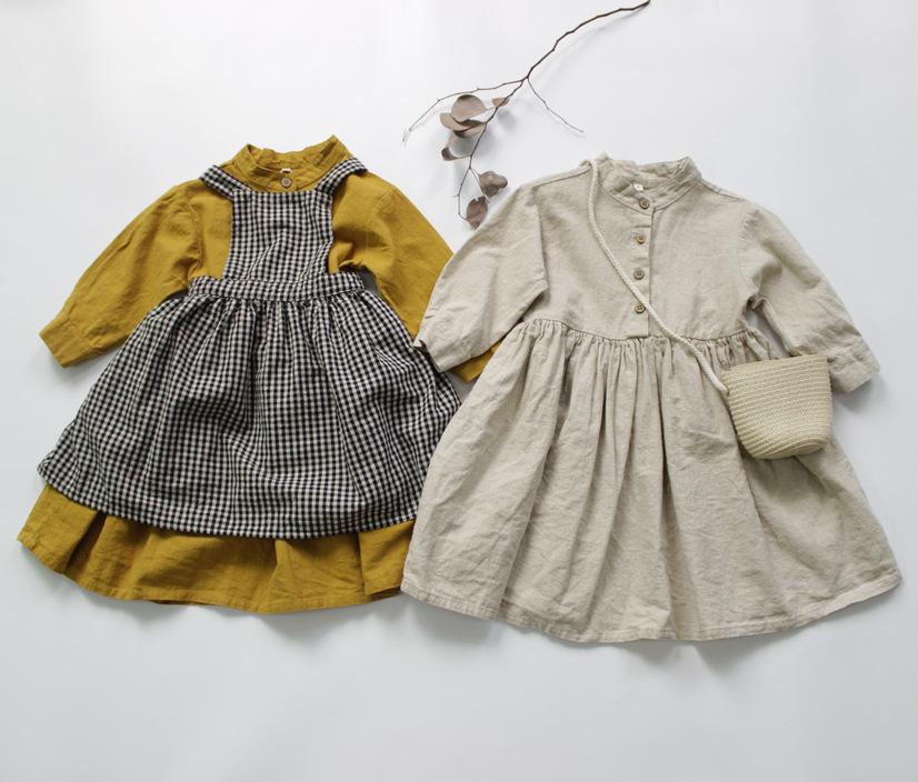 Autumn 2020 children's cotton and hemp skirt